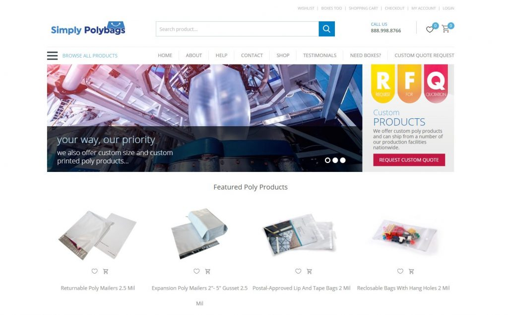 simply poly bags website design by webnet