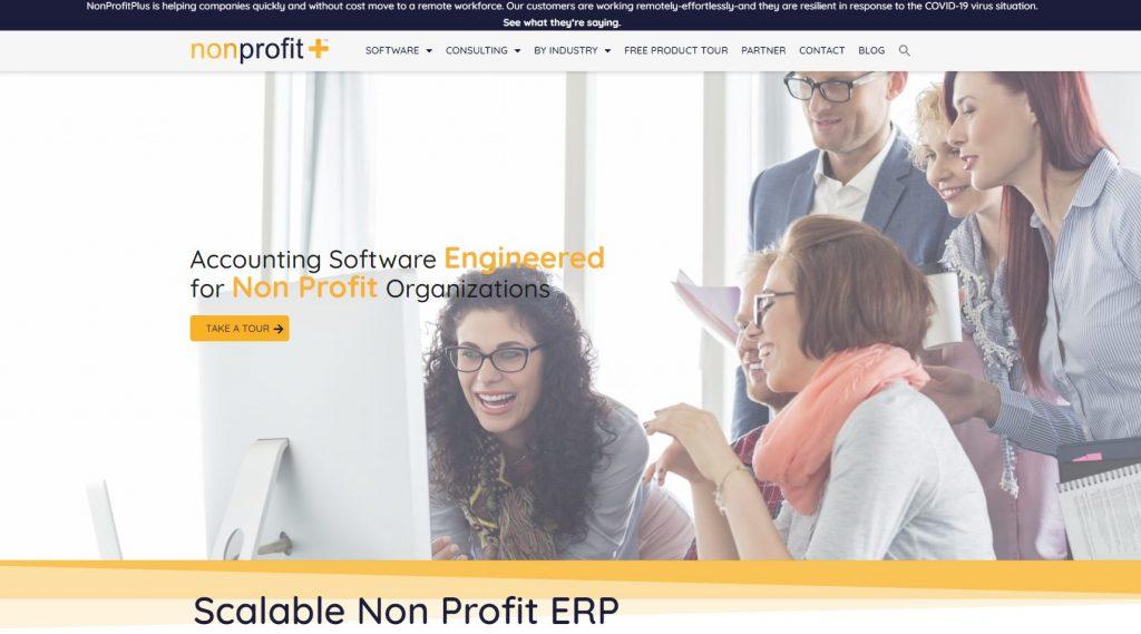 screenshot of nonprofit plus website